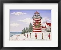 Framed Christmas Lighthouse