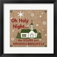 Framed Christmas on Burlap - Oh Holy Night