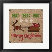 Framed Christmas on Burlap - Ho Ho Ho
