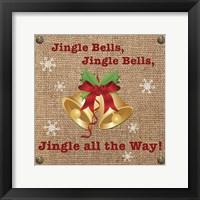 Framed Christmas on Burlap - Jingle Bells