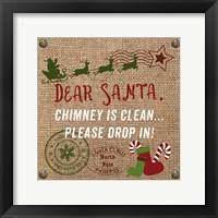 Framed Christmas on Burlap - Dear Santa