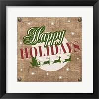 Framed Christmas on Burlap - Happy Holidays