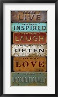 Framed Laugh Live Inspired License Plate