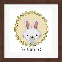 Framed Be Curious Rabbit