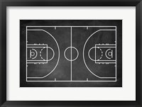 Framed Basketball Court Chalkboard Background
