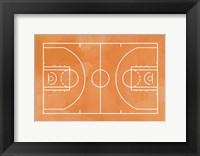 Framed Basketball Court Orange Paint Background