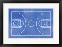 Framed Basketball Court Blue Paint Background