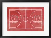 Framed Basketball Court Red Paint Background