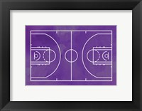 Framed Basketball Court Purple Paint Background