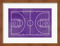 Framed Basketball Court Purple Paint Background