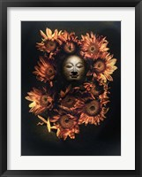 Framed Budda Head In A Bed Of Daisies