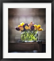 Framed Cut Tulips On Edge Of Table