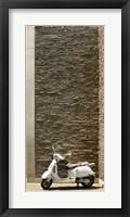 Framed Vespa Scooter Brick Wall