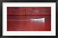 Framed White Boat On Red River