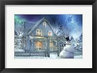 Framed Happy Snowman