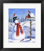Framed Snowman & Cardinals