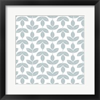 Framed Allover Leaf Pattern Blue