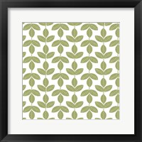 Framed Allover Leaf Pattern Green