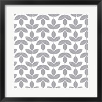 Framed Allover Leaf Pattern Grey