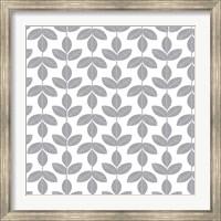 Framed Allover Leaf Pattern Grey