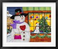 Framed Snow Woman Window Shops