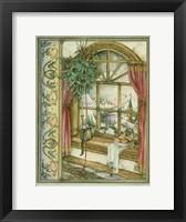 Framed Cat in Christmas Window
