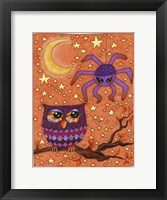 Framed Halloween Owl And Spider