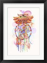 Framed Watercolor Owl Dream Catcher