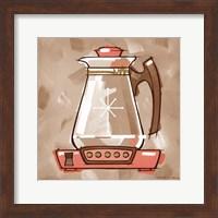 Framed Coffee Warmer - Coral & Brown