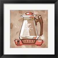 Framed Coffee Warmer - Coral & Brown