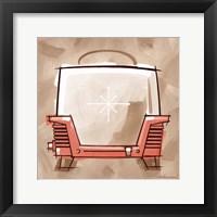 Toaster - Coral & Brown Framed Print