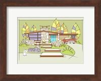 Framed Mid-Century House #2 - T-Bird White Dog