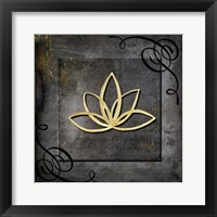 Framed Grunge Gold Crown Lotus