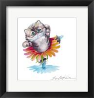 Framed Kitten Ballerina Daisy Flower Dance Persian Cat