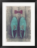 Framed Vintage Fashion Bow Tie and Shoes - Blue