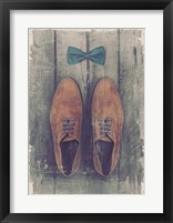 Framed Vintage Fashion Bow Tie and Shoes - Brown