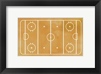 Framed Ice Hockey Rink Yellow Paint