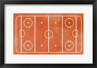 Framed Ice Hockey Rink Orange Paint