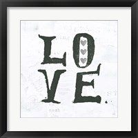 Framed Love Gray Hearts