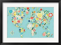 Framed Floral World Blue