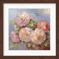 Framed Roses on Blue III Crop