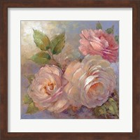 Framed Roses on Blue II Crop