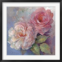 Framed Roses on Blue I Crop
