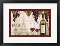Framed Wine in Paris I Damask Border