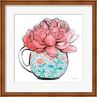 Framed Floral Teacups I