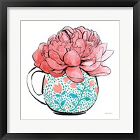 Framed Floral Teacups I