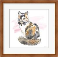 Framed Fancy Cats II Watercolor