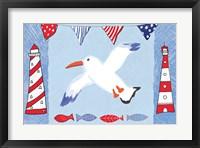 Framed Coastal Bird III Blue