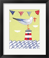 Framed Coastal Bird I Flags