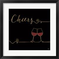 Framed Underlined Wine V Black